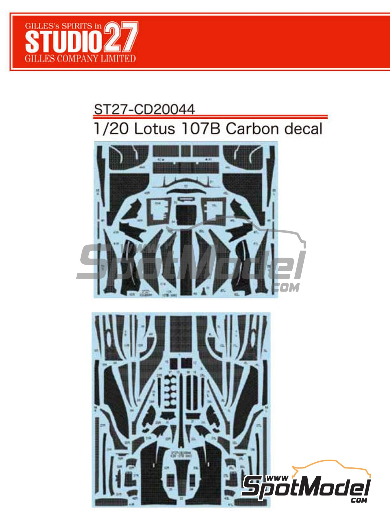 Lotus Ford 107B | Carbon fibre pattern decal in 1/20 scale manufactured by Studio27 (ref.ST27-CD20044) image