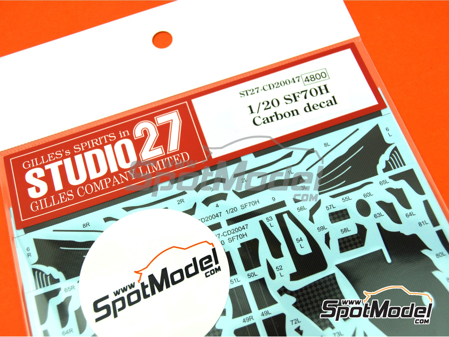 Image 2: Ferrari SF70H | Carbon fibre pattern decal in 1/20 scale manufactured by Studio27 (ref. ST27-CD20047)