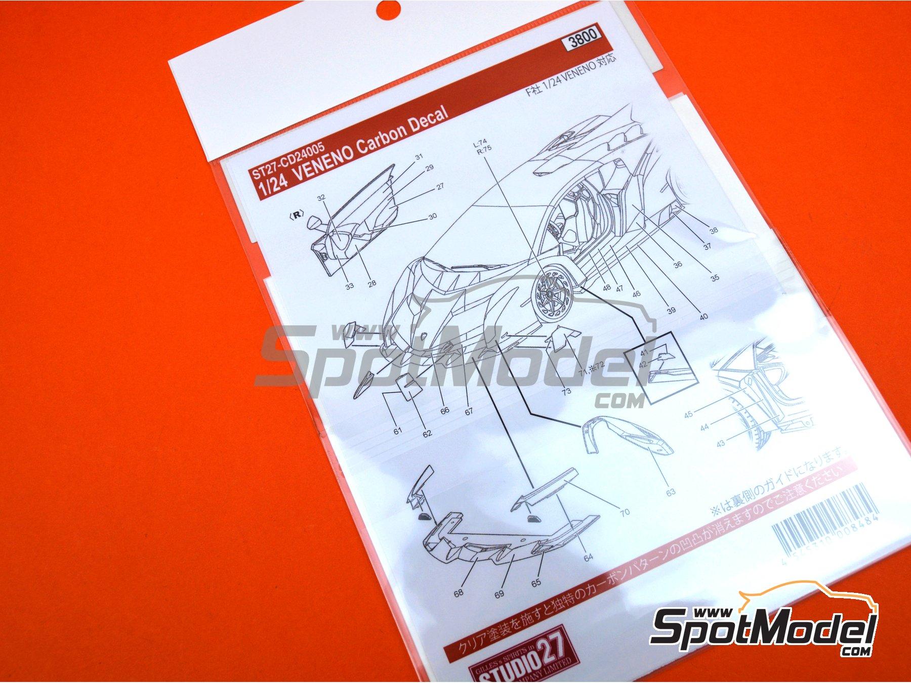 Image 5: Lamborghini Veneno | Carbon fibre pattern decal in 1/24 scale manufactured by Studio27 (ref.ST27-CD24005)