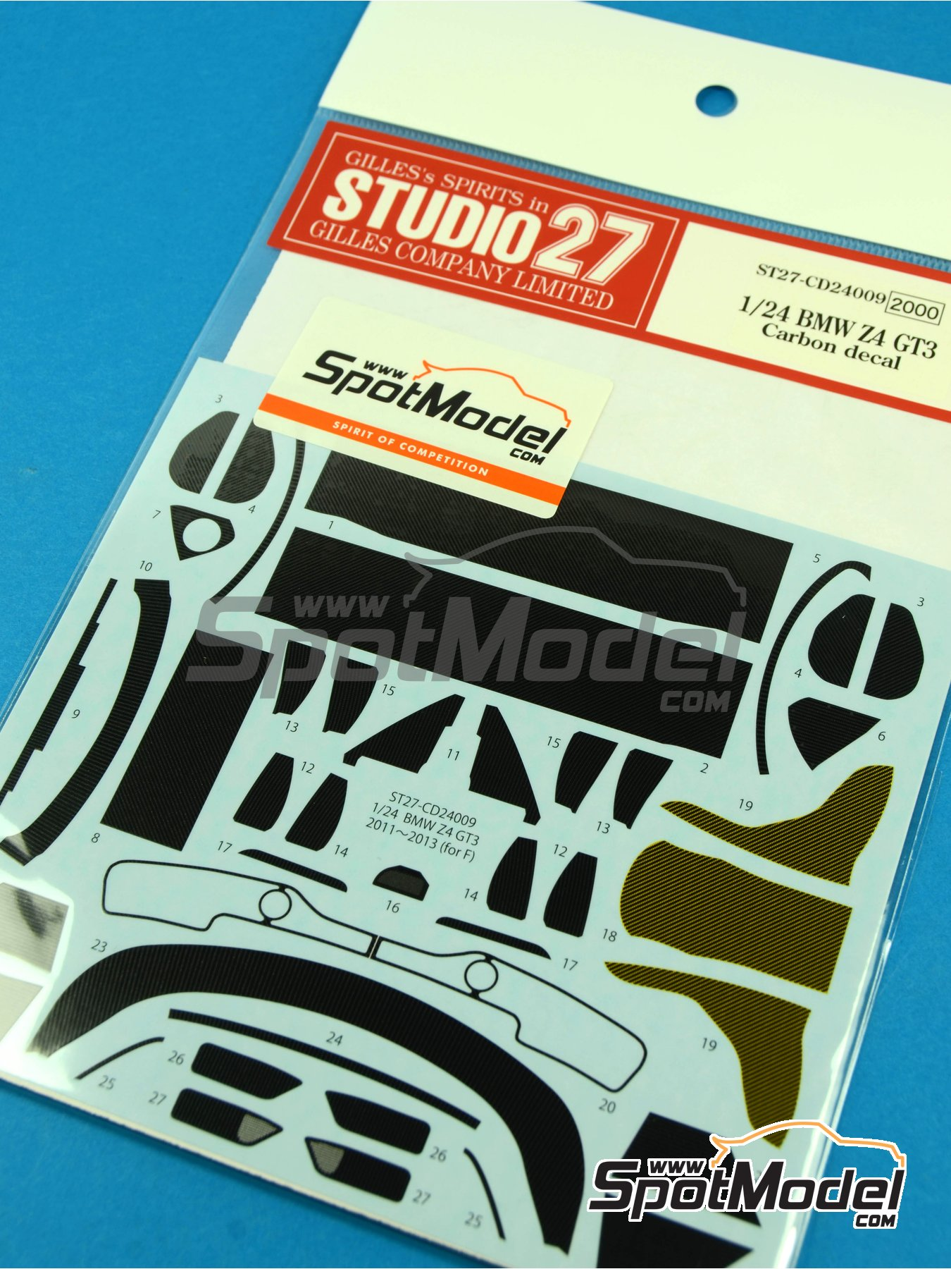 BMW Z4 GT3 | Carbon fibre pattern decal in 1/24 scale manufactured by Studio27 (ref.ST27-CD24009) image