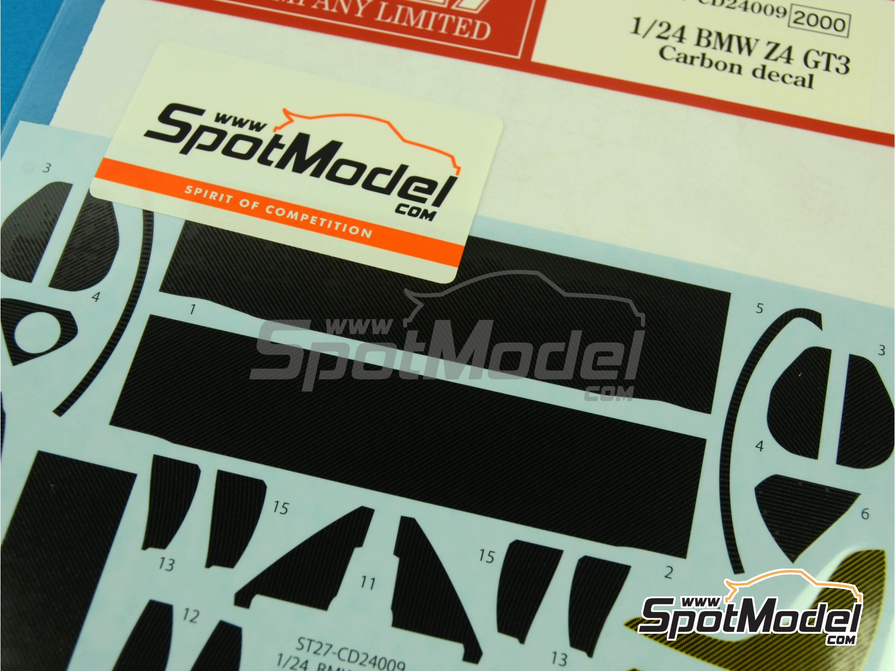 Image 2: BMW Z4 GT3 | Carbon fibre pattern decal in 1/24 scale manufactured by Studio27 (ref.ST27-CD24009)