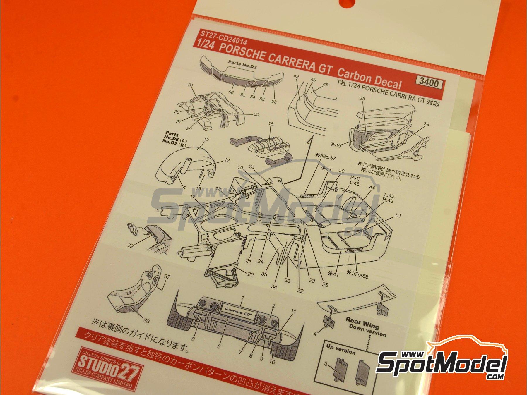 Image 1: Porsche Carrera GT | Patron de fibra de carbono en calca en escala1/24 fabricado por Studio27 (ref.ST27-CD24014)