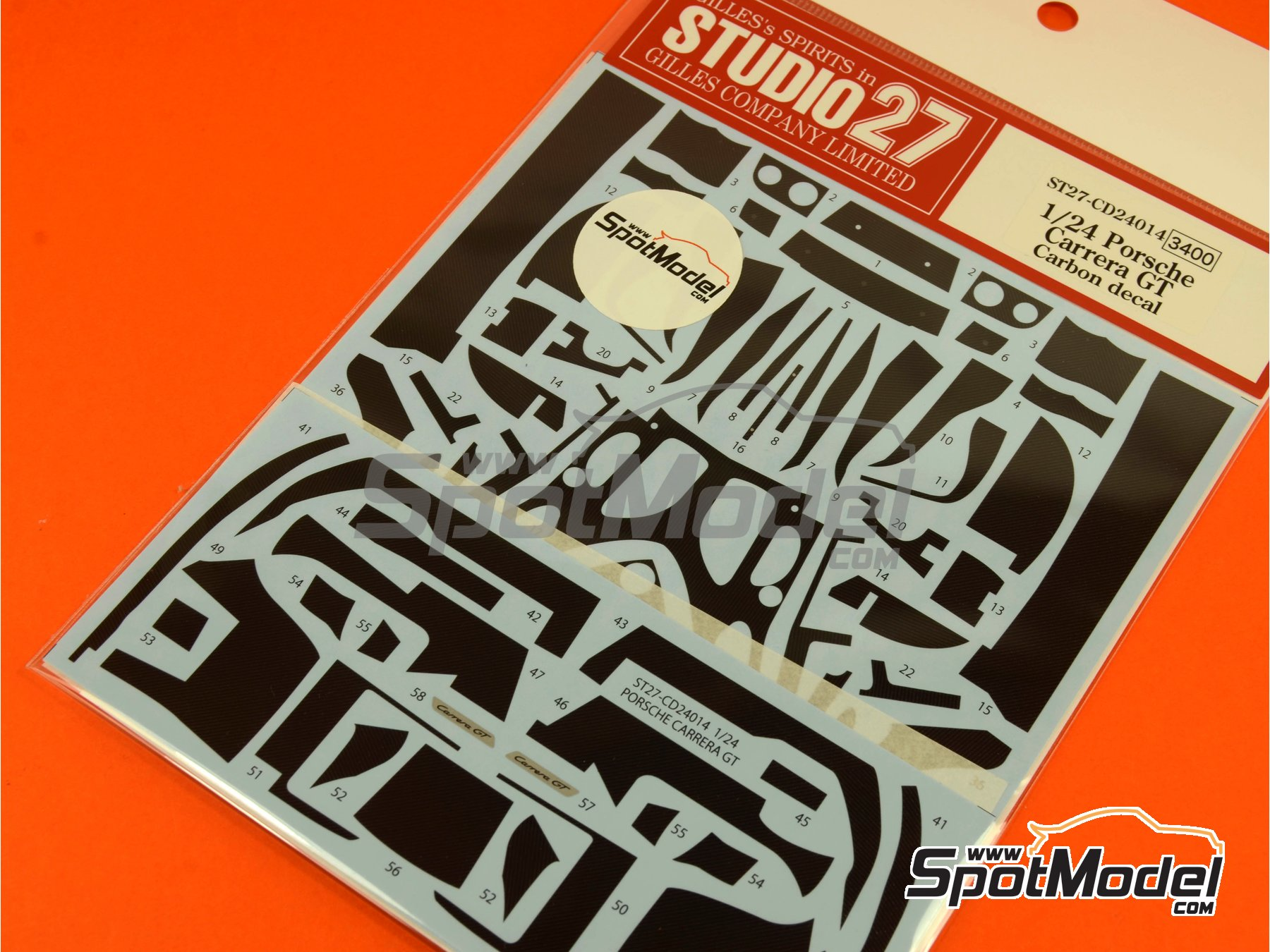 Image 6: Porsche Carrera GT | Carbon fibre pattern decal in 1/24 scale manufactured by Studio27 (ref. ST27-CD24014)