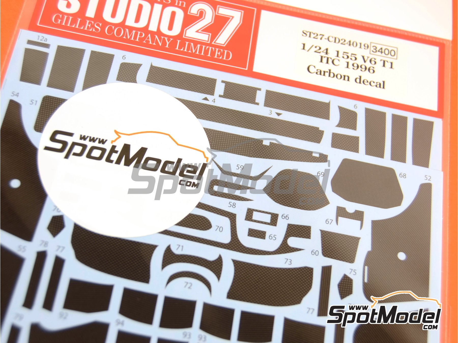 Image 1: Alfa Romeo 155 V6 TI - DTM 1996   Carbon fibre pattern decal in 1/24 scale manufactured by Studio27 (ref.ST27-CD24019)