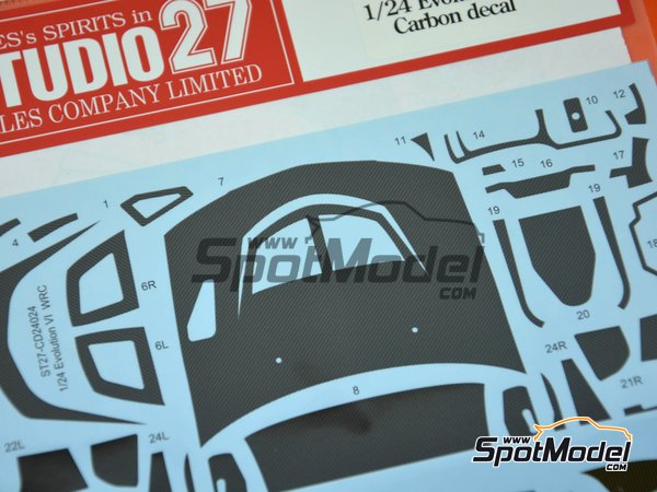 Image 2: Mitsubishi Lancer Evo VI | Carbon fibre pattern decal in 1/24 scale manufactured by Studio27 (ref. ST27-CD24024)