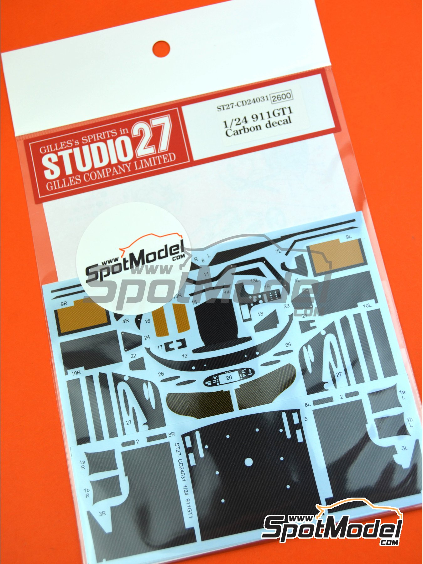 Porsche 911 GT1 | Carbon fibre pattern decal in 1/24 scale manufactured by Studio27 (ref.ST27-CD24031) image