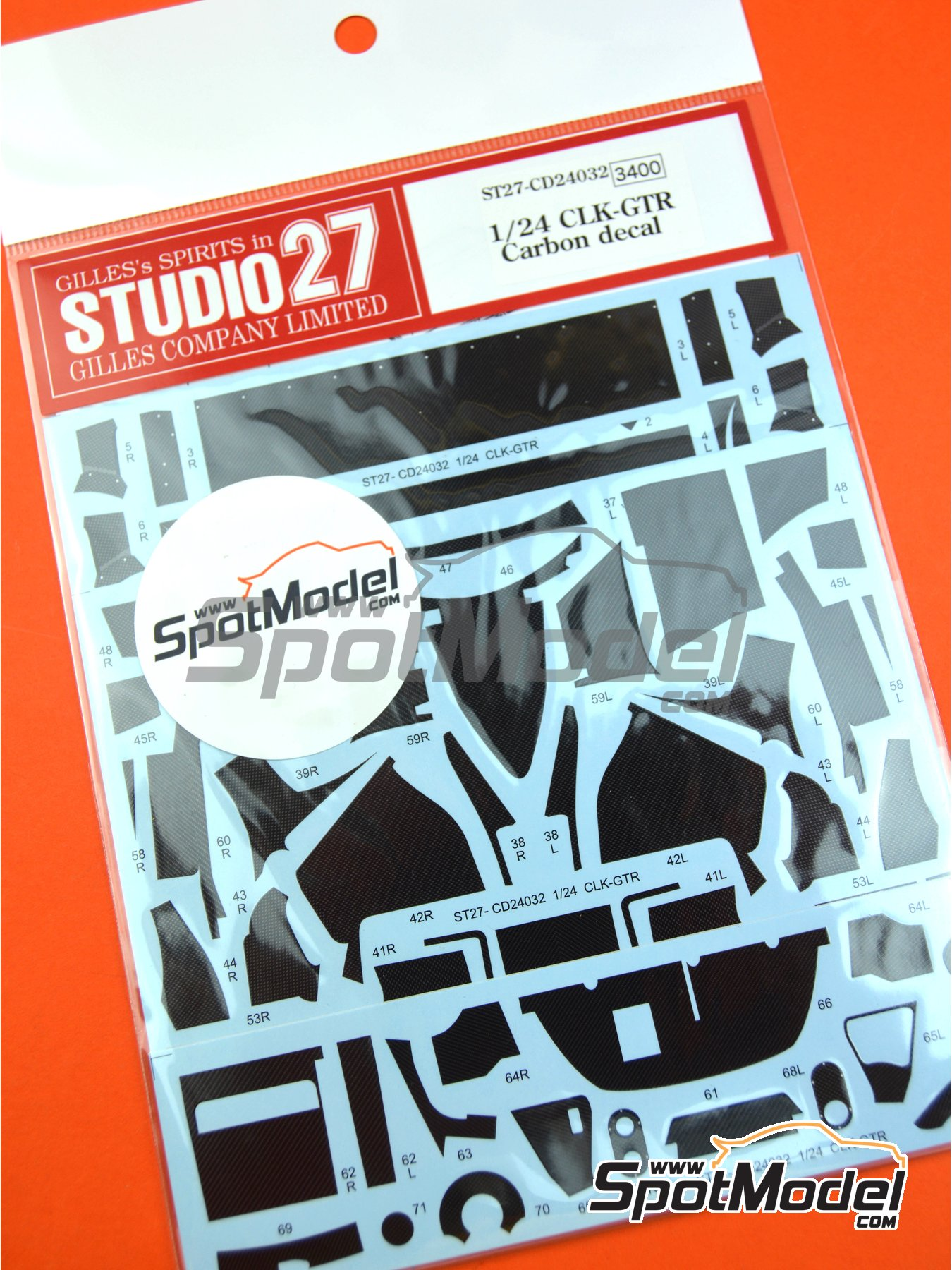 Mercedes CLK-GTR | Carbon fibre pattern decal in 1/24 scale manufactured by Studio27 (ref.ST27-CD24032) image