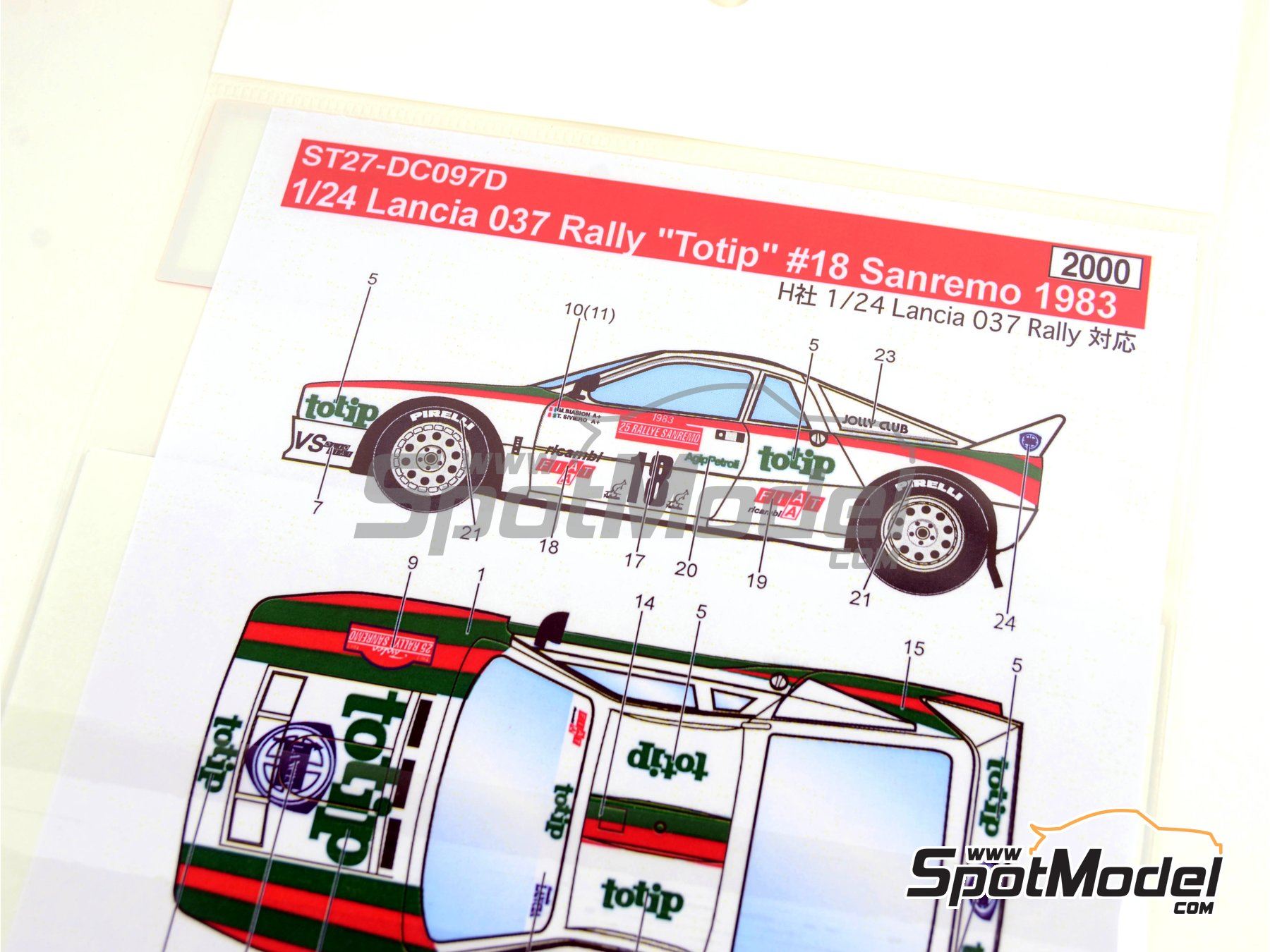 Image 6: Lancia Rally 037 Totip - Sanremo Rally 1983 | Marking / livery in 1/24 scale manufactured by Studio27 (ref.ST27-DC097D)