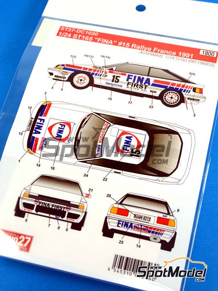 Toyota Celica GT-Four ST165 Fina - Alsace France Rally 1991 | Marking / livery in 1/24 scale manufactured by Studio27 (ref.ST27-DC1020) image
