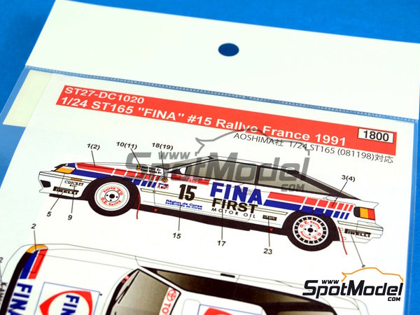 Image 4: Toyota Celica GT-Four ST165 Fina - Alsace France Rally 1991 | Marking / livery in 1/24 scale manufactured by Studio27 (ref.ST27-DC1020)