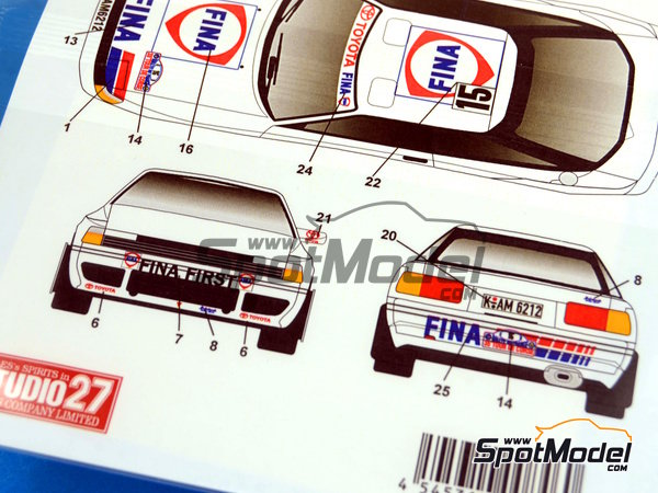 Image 6: Toyota Celica GT-Four ST165 Fina - Alsace France Rally 1991 | Marking / livery in 1/24 scale manufactured by Studio27 (ref.ST27-DC1020)