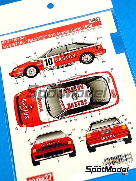 Toyota Celica GT-Four ST165 Bastos - Rally de Montecarlo 1989 | Calcas de agua en escala1/24 fabricado por Studio27 (ref.ST27-DC1021) image