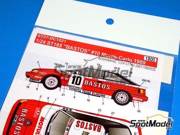 Image 5: Toyota Celica GT-Four ST165 Bastos - Rally de Montecarlo 1989 | Calcas de agua en escala1/24 fabricado por Studio27 (ref.ST27-DC1021)
