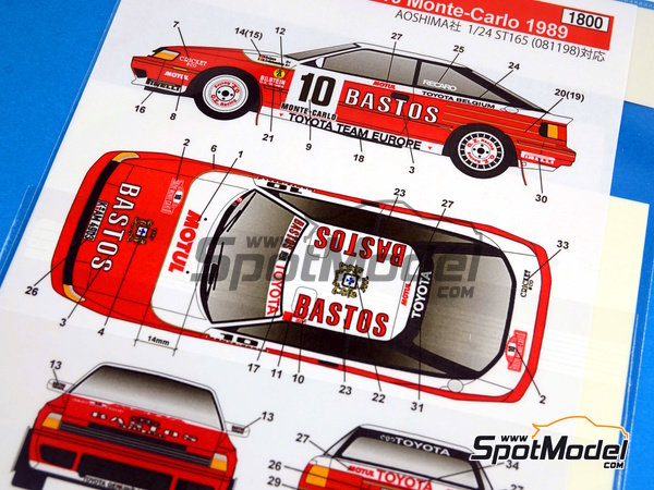 Image 6: Toyota Celica GT-Four ST165 Bastos - Rally de Montecarlo 1989 | Calcas de agua en escala1/24 fabricado por Studio27 (ref.ST27-DC1021)