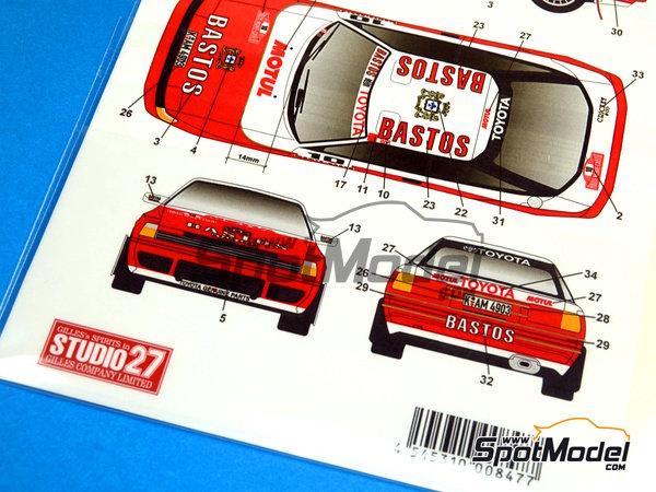 Image 7: Toyota Celica GT-Four ST165 Bastos - Rally de Montecarlo 1989 | Calcas de agua en escala1/24 fabricado por Studio27 (ref.ST27-DC1021)