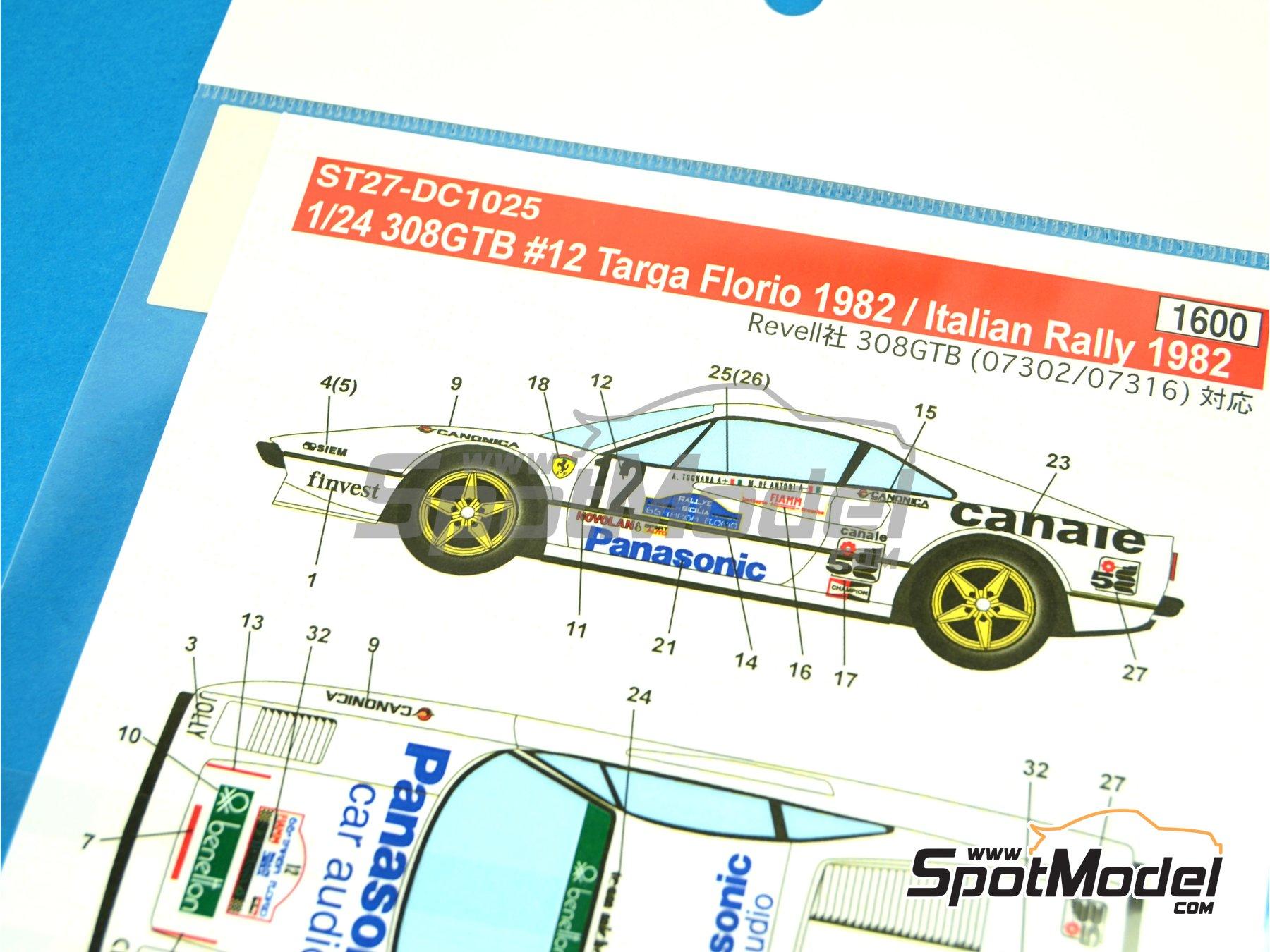Image 2: Ferrari 308 GTB Panasonic - Targa Florio 1982 | Decoración en escala1/24 fabricado por Studio27 (ref.ST27-DC1025)