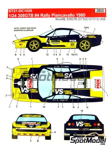 Ferrari 308 GTB Jolly Club Pick - Rally Piancavallo 1980 | Decoración en escala1/24 fabricado por Studio27 (ref.ST27-DC1026) image