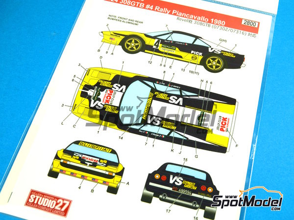 Image 1: Ferrari 308 GTB Jolly Club Pick - Rally Piancavallo 1980 | Marking / livery in 1/24 scale manufactured by Studio27 (ref.ST27-DC1026)