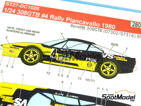 Image 5: Ferrari 308 GTB Jolly Club Pick - Rally Piancavallo 1980 | Marking / livery in 1/24 scale manufactured by Studio27 (ref.ST27-DC1026)