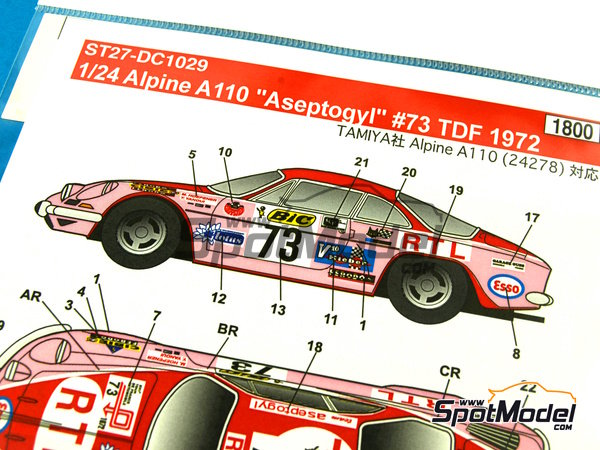 Image 3: Renault Alpine A110 BIC - Tour de France Automobile 1972 | Marking / livery in 1/24 scale manufactured by Studio27 (ref.ST27-DC1029)