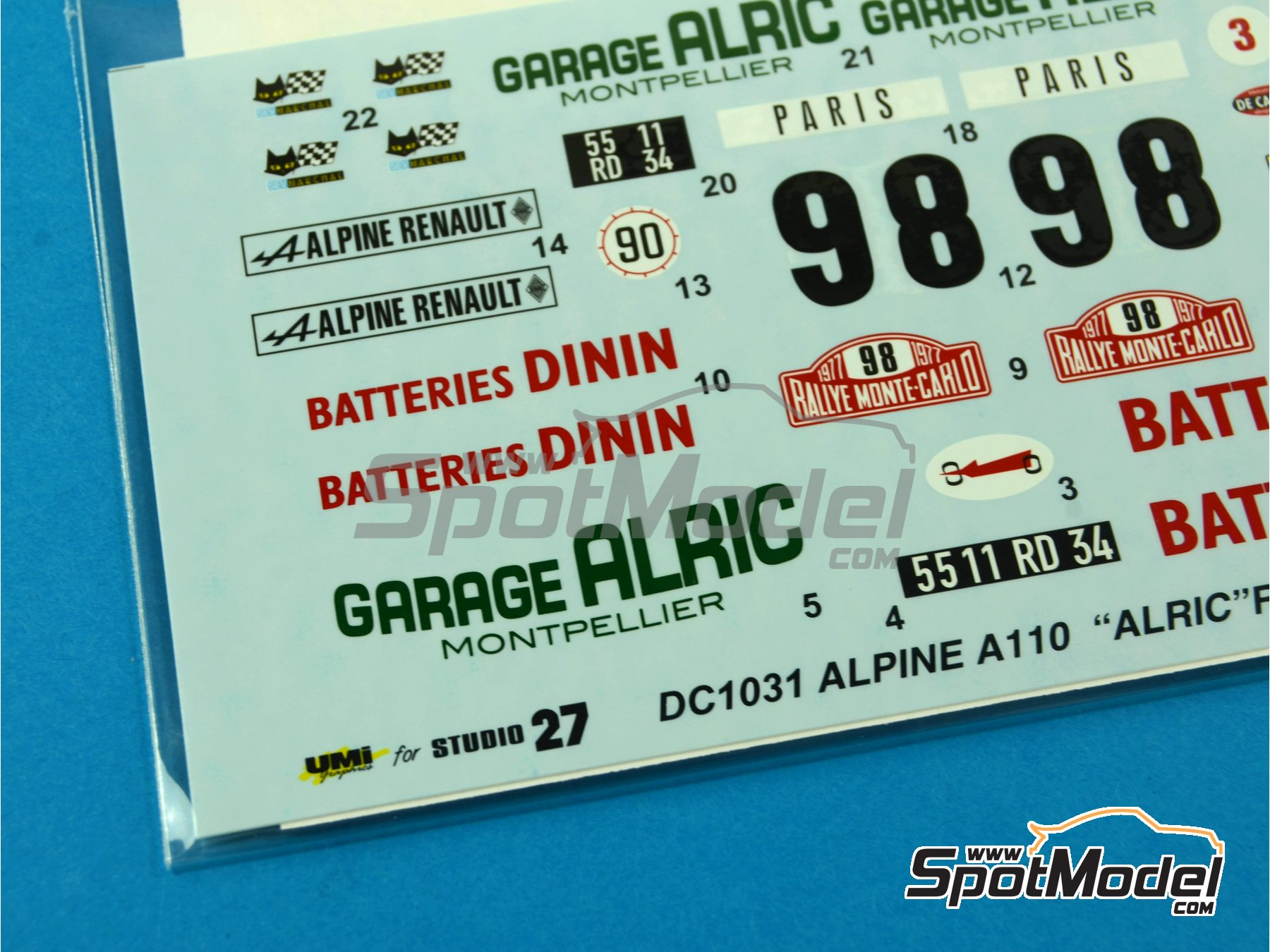 Image 2: Renault Alpine A110 Batteries Dinin - Montecarlo Rally - Rallye Automobile de Monte-Carlo 1977 | Marking / livery in 1/24 scale manufactured by Studio27 (ref. ST27-DC1031)