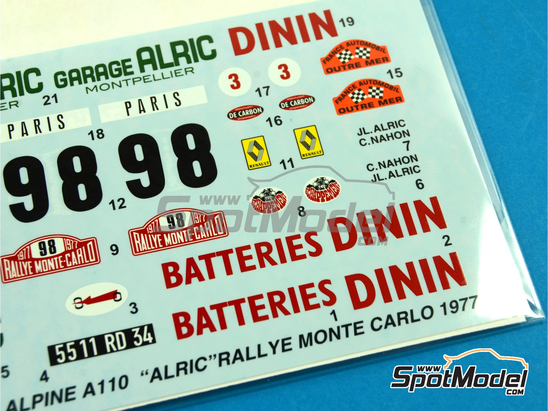 Image 5: Renault Alpine A110 Batteries Dinin - Montecarlo Rally - Rallye Automobile de Monte-Carlo 1977 | Marking / livery in 1/24 scale manufactured by Studio27 (ref. ST27-DC1031)