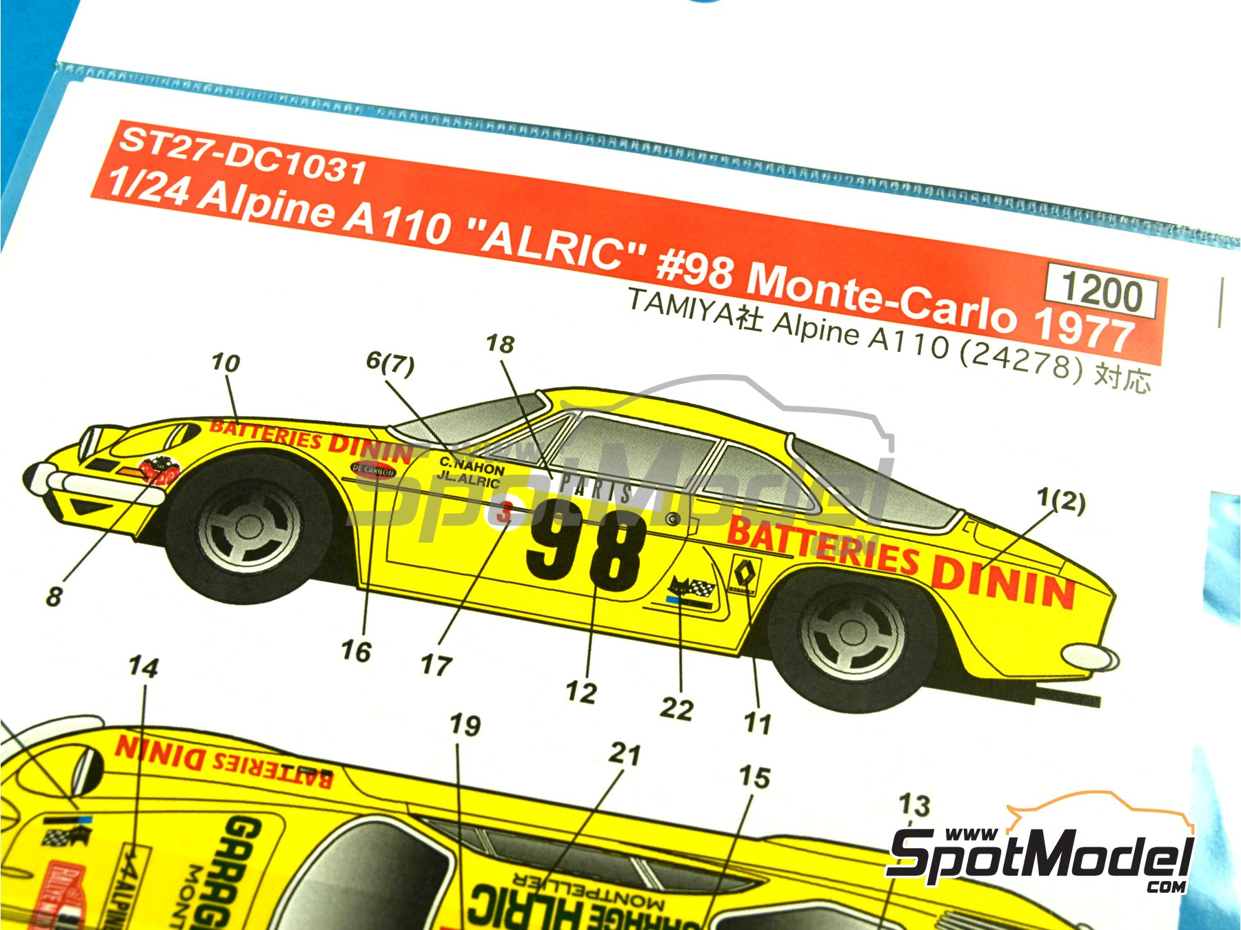 Image 6: Renault Alpine A110 Batteries Dinin - Montecarlo Rally - Rallye Automobile de Monte-Carlo 1977 | Marking / livery in 1/24 scale manufactured by Studio27 (ref. ST27-DC1031)