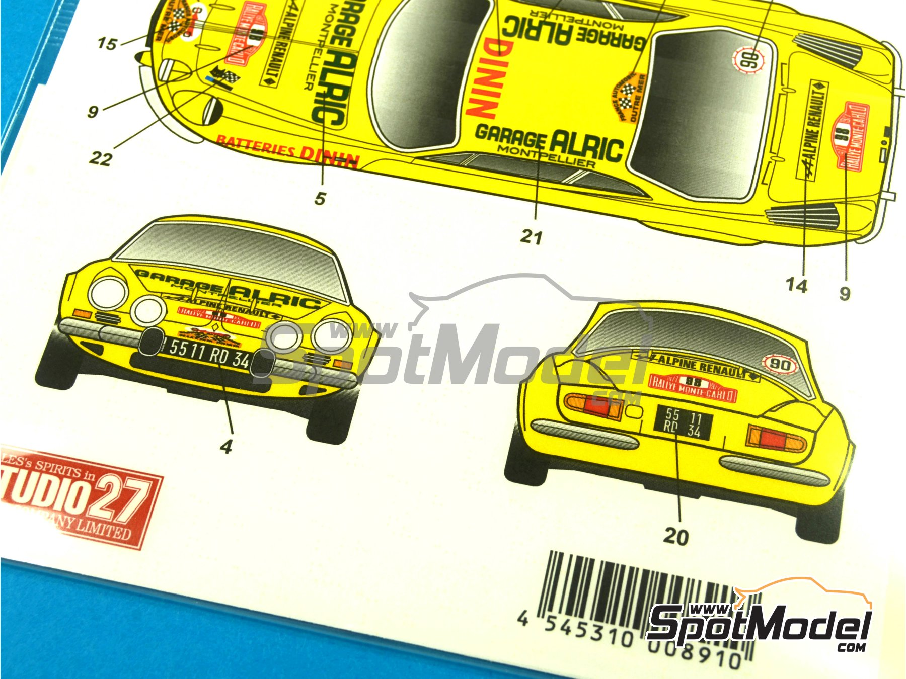 Image 8: Renault Alpine A110 Batteries Dinin - Montecarlo Rally - Rallye Automobile de Monte-Carlo 1977 | Marking / livery in 1/24 scale manufactured by Studio27 (ref. ST27-DC1031)