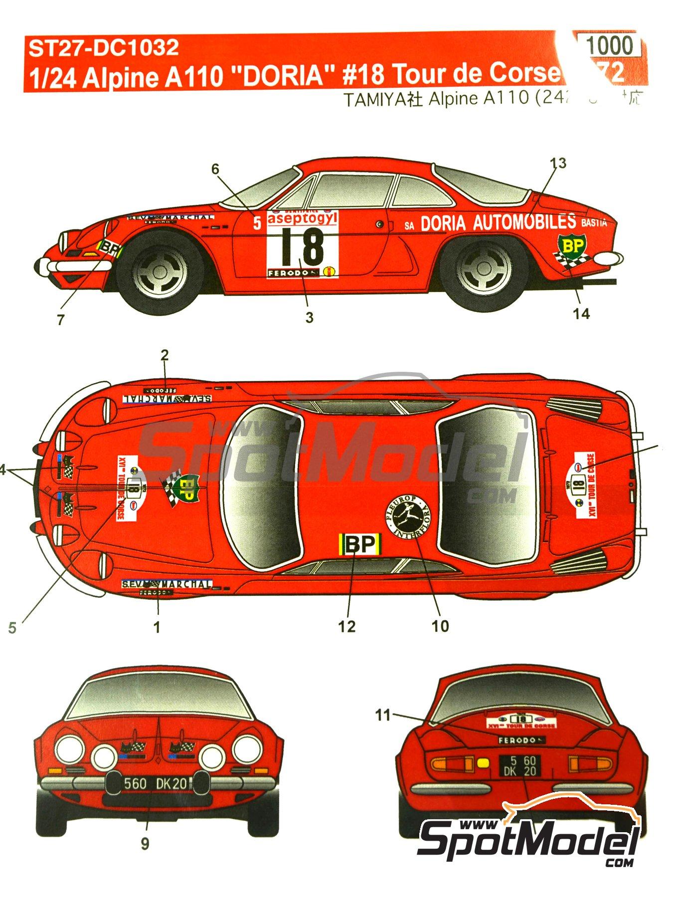 Renault Alpine A110 Doria - Rally Tour de Corse 1972 | Decoración en escala1/24 fabricado por Studio27 (ref.ST27-DC1032) image