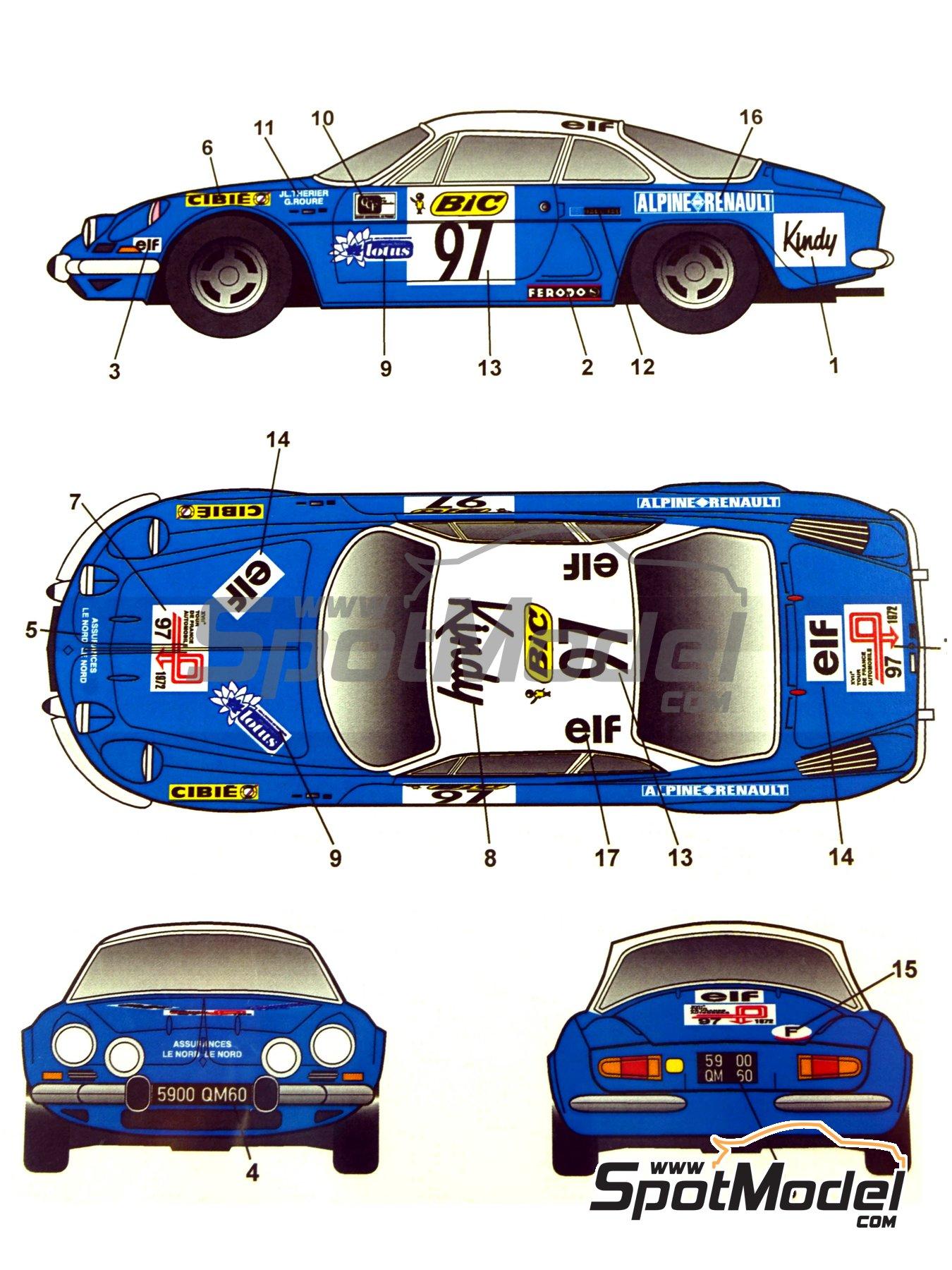 Renault Alpine A110 BIC - Rally de Montecarlo 1972 | Decoración en escala1/24 fabricado por Studio27 (ref.ST27-DC1034) image