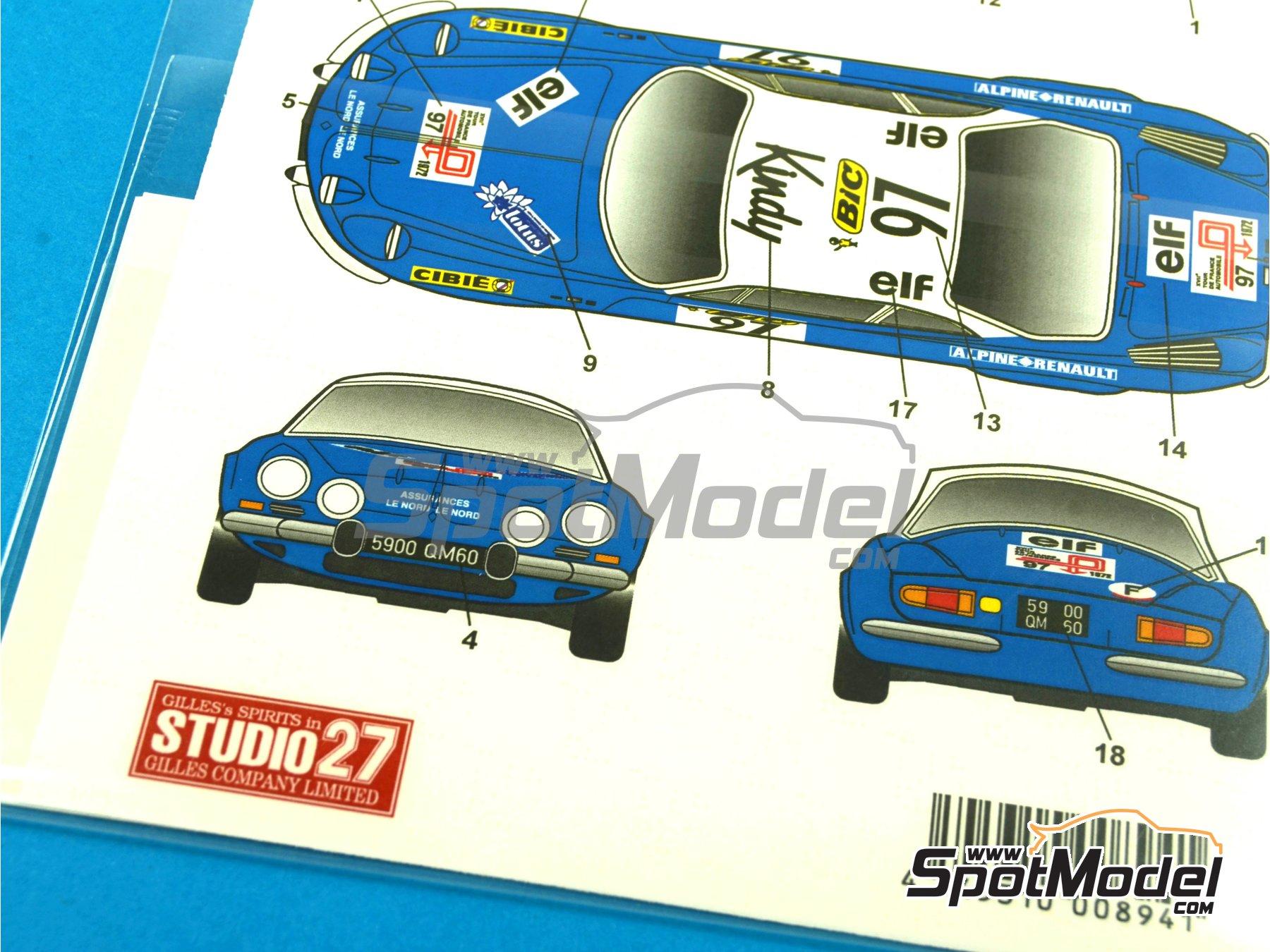 Image 11: Renault Alpine A110 BIC - Rally de Montecarlo 1972 | Decoración en escala1/24 fabricado por Studio27 (ref.ST27-DC1034)
