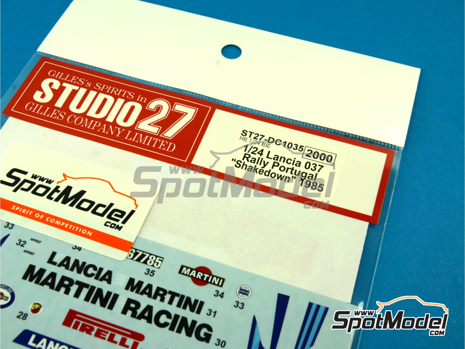 Image 1: Lancia 037 Rally Martini - Shakedown - Pirelli Testing - Portugal Rally 1985 | Marking / livery in 1/24 scale manufactured by Studio27 (ref. ST27-DC1035)