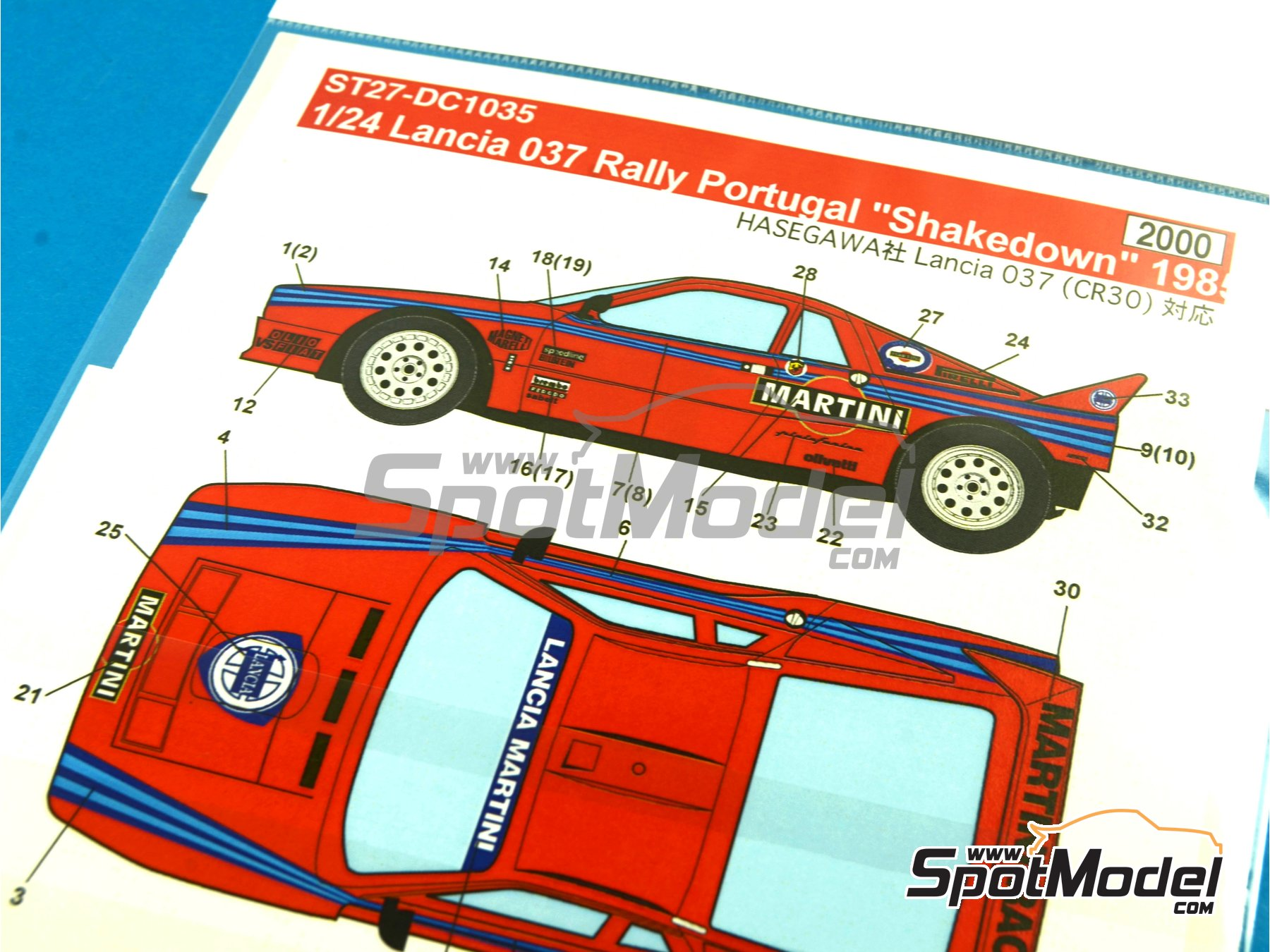 Image 5: Lancia 037 Rally Martini - Shakedown - Pirelli Testing - Portugal Rally 1985 | Marking / livery in 1/24 scale manufactured by Studio27 (ref. ST27-DC1035)