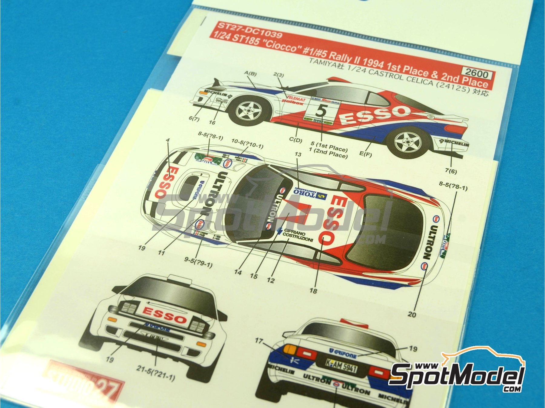 Image 1: Toyota Celica GT-Four WRC Esso - Rally del Ciocco e Valle del Serchio 1994 | Calcas de agua en escala1/24 fabricado por Studio27 (ref.ST27-DC1039)