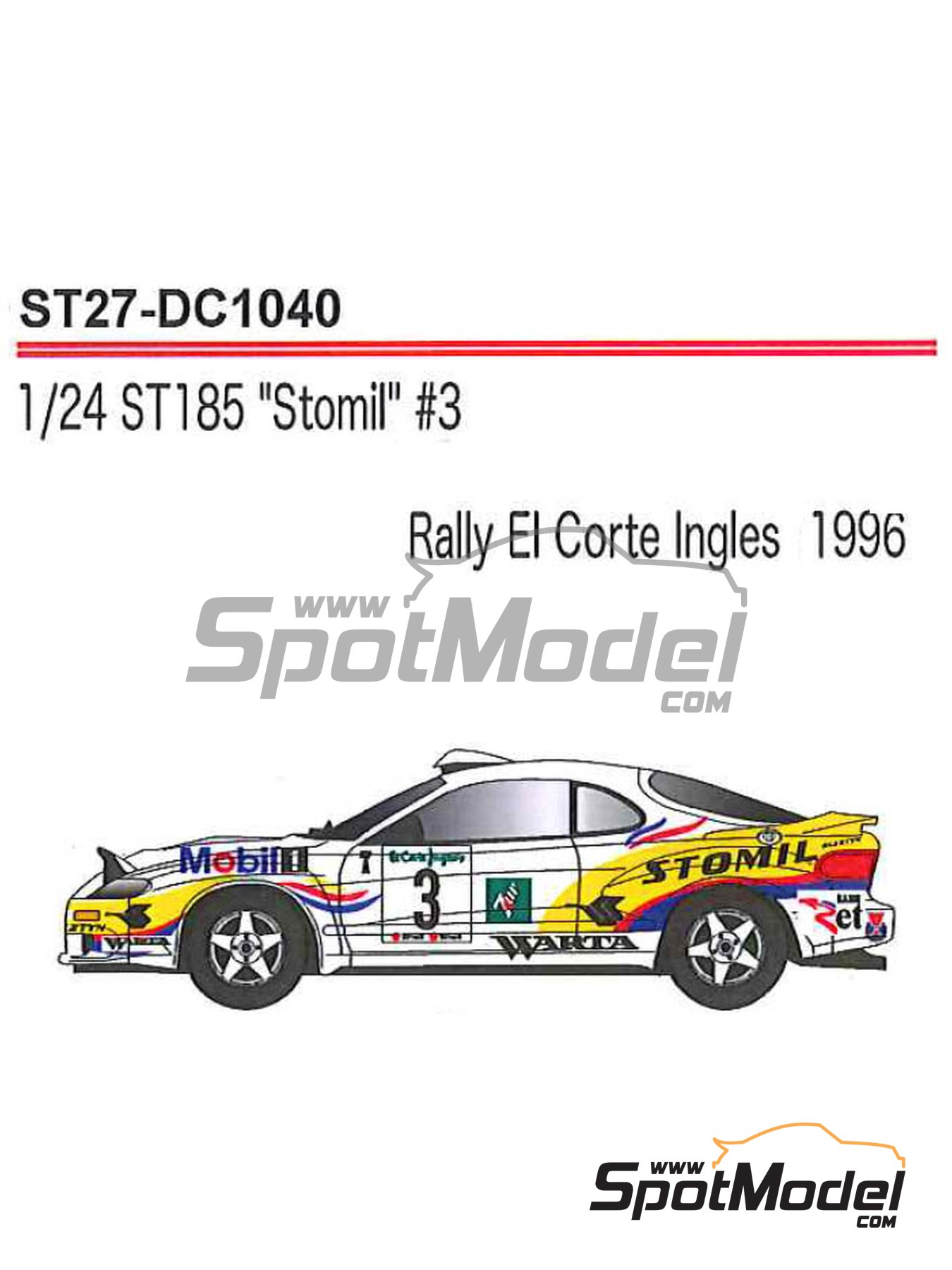 Toyota Celica GT-Four WRC Stomil - El Corte Ingles Rally 1996 | Marking / livery in 1/24 scale manufactured by Studio27 (ref. ST27-DC1040) image