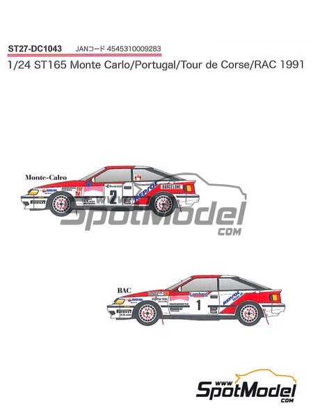 Toyota Celica GT-Four ST165 Marlboro - Rally de Portugal, Rally Tour de Corse 1991   Calcas de agua en escala1/24 fabricado por Studio27 (ref.ST27-DC1043) image