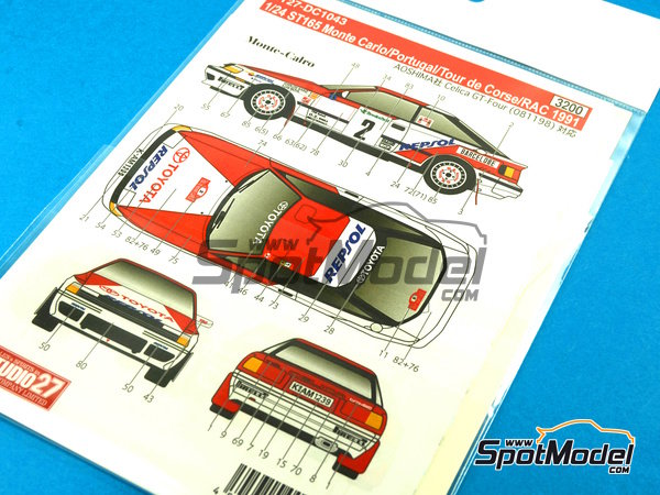 Image 2: Toyota Celica GT-Four ST165 Marlboro - Rally de Portugal, Rally Tour de Corse 1991   Calcas de agua en escala1/24 fabricado por Studio27 (ref.ST27-DC1043)