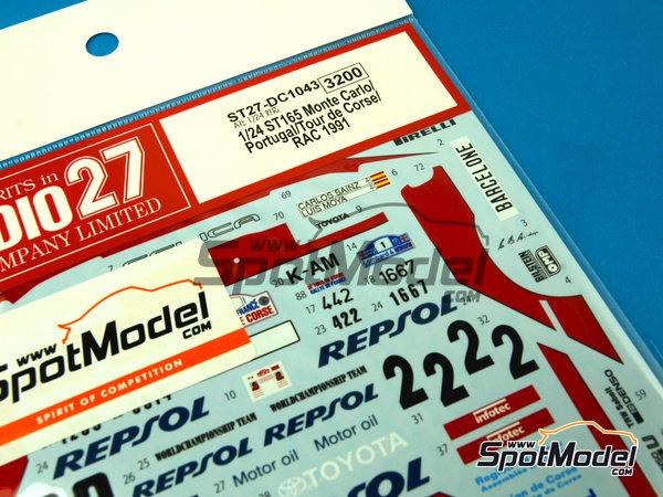 Image 3: Toyota Celica GT-Four ST165 Marlboro - Rally de Portugal, Rally Tour de Corse 1991   Calcas de agua en escala1/24 fabricado por Studio27 (ref.ST27-DC1043)