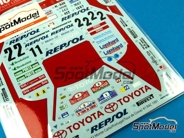 Image 5: Toyota Celica GT-Four ST165 Marlboro - Rally de Portugal, Rally Tour de Corse 1991   Calcas de agua en escala1/24 fabricado por Studio27 (ref.ST27-DC1043)