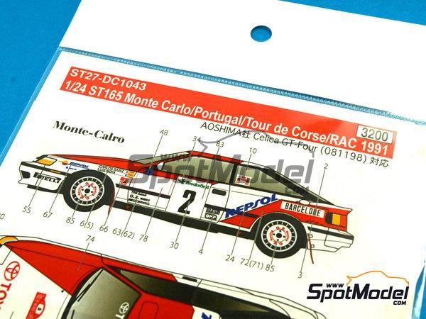 Image 7: Toyota Celica GT-Four ST165 Marlboro - Rally de Portugal, Rally Tour de Corse 1991   Calcas de agua en escala1/24 fabricado por Studio27 (ref.ST27-DC1043)