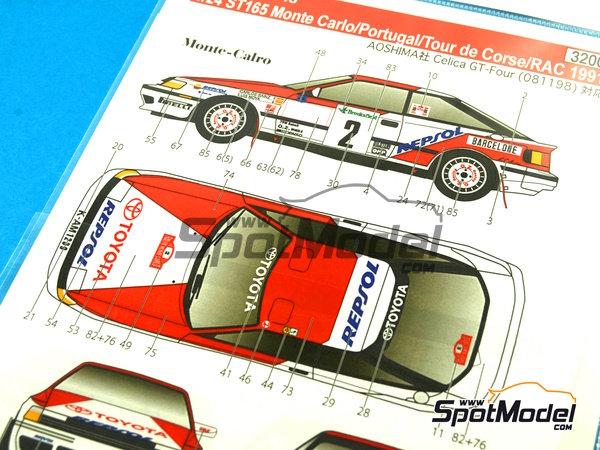 Image 8: Toyota Celica GT-Four ST165 Marlboro - Rally de Portugal, Rally Tour de Corse 1991   Calcas de agua en escala1/24 fabricado por Studio27 (ref.ST27-DC1043)
