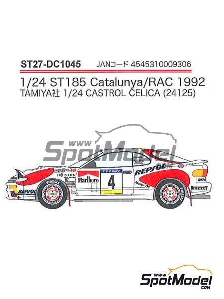 Toyota Celica Marlboro - Rally de Cataluña Costa Dorada RACC, Rally de Inglaterra RAC 1992 | Decoración en escala1/24 fabricado por Studio27 (ref.ST27-DC1045) image