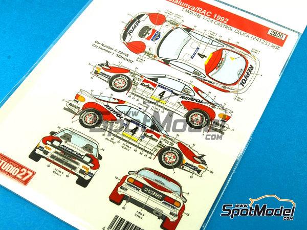 Image 2: Toyota Celica Marlboro - Rally de Cataluña Costa Dorada RACC, Rally de Inglaterra RAC 1992 | Decoración en escala1/24 fabricado por Studio27 (ref.ST27-DC1045)