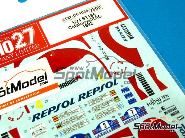 Image 6: Toyota Celica Marlboro - Rally de Cataluña Costa Dorada RACC, Rally de Inglaterra RAC 1992 | Decoración en escala1/24 fabricado por Studio27 (ref.ST27-DC1045)