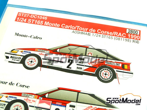 Image 3: Toyota Celica GT Four ST165 Repsol - Great Britain RAC Rally, Montecarlo Rally - Rallye Automobile de Monte-Carlo, Tour de Corse 1990 | Marking / livery in 1/24 scale manufactured by Studio27 (ref. ST27-DC1046)