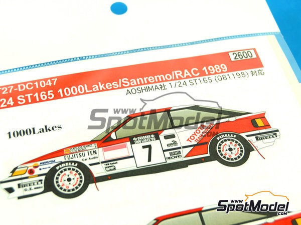 Image 2: Toyota Celica GT Four ST165 Repsol Marlboro - 1000 Lakes Finland Rally, Sanremo Rally 1989   Decals in 1/24 scale manufactured by Studio27 (ref.ST27-DC1047)
