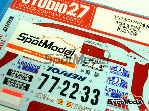 Image 3: Toyota Celica GT Four ST165 Repsol Marlboro - 1000 Lakes Finland Rally, Sanremo Rally 1989   Decals in 1/24 scale manufactured by Studio27 (ref.ST27-DC1047)