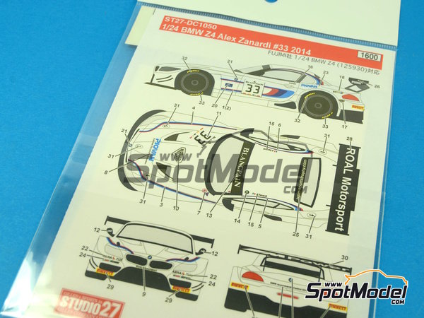 Image 1: BMW Z4 GT3 Roal Motorsport - GT FIA World Championship 2014 | Marking / livery in 1/24 scale manufactured by Studio27 (ref. ST27-DC1050)