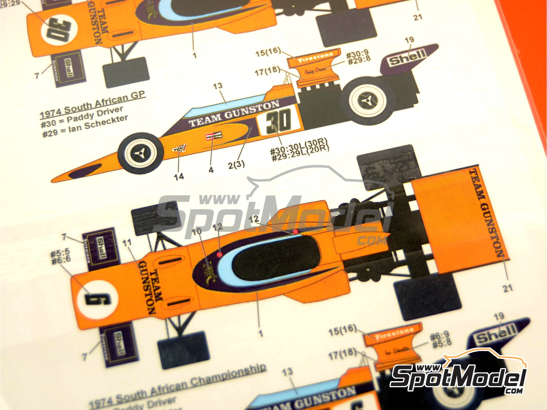 Image 2: Lotus Ford 72E Team Gunston - South African Formula 1 Grand Prix 1974 and 1975 | Marking / livery in 1/20 scale manufactured by Studio27 (ref.ST27-DC1075)