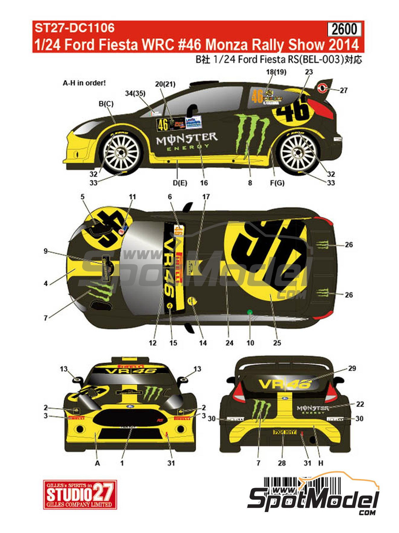 Ford Fiesta WRC Monster Energy - Monza Rally Show 2014 | Marking / livery in 1/24 scale manufactured by Studio27 (ref.ST27-DC1106) image